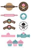 十枚面包店和杯形蛋糕徽章 免版税库存图片