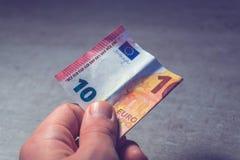 十欧元手中 库存图片