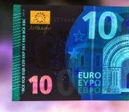 十欧元纸笔记货币细节 库存照片