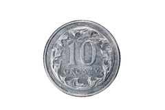 十波兰钱币 波兰兹罗提 波兰的货币 硬币的宏观照片 波兰描述十擦亮剂波兰钱币硬币 免版税库存照片