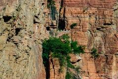 十道峡谷垄沟垄沟村庄中国河北邢台市墙壁路的没有天峡谷 免版税库存照片
