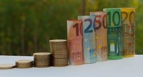 十,二十,五十,一百,二百和硬币欧元在绿色被弄脏的bokeh背景滚动了票据钞票 直方图fr 免版税库存图片