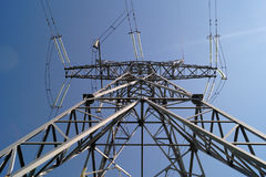 110千伏输电线传输定向塔 库存照片