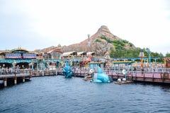 千叶,日本-, 2016年:在东京位于浦安的Disneysea端起发现地区,千叶,日本 免版税库存图片
