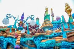 千叶,日本-, 2016年:美人鱼盐水湖atraction在东京位于浦安的Disneysea,千叶,日本 免版税图库摄影