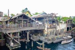 千叶,日本-, 2016年:老古老村庄在失去的河三角洲地区在东京位于浦安的Disneysea,千叶,日本 库存照片