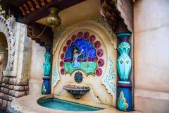 千叶,日本-, 2016年:茉莉花喷泉在阿拉伯海岸吸引力区域在东京位于浦安的Disneysea,千叶,日本 库存图片