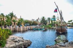 千叶,日本-, 2016年:阿拉伯海岸吸引力区域在东京位于浦安的Disneysea,千叶,日本 库存照片