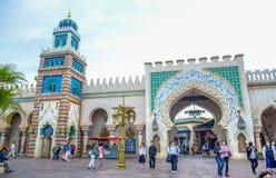 千叶,日本-, 2016年:阿拉伯海岸吸引力区域在东京位于浦安的Disneysea,千叶,日本 免版税库存照片