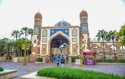 千叶,日本-, 2016年:阿拉伯海岸吸引力区域在东京位于浦安的Disneysea,千叶,日本 库存图片