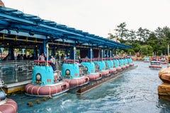 千叶,日本-, 2016年:Aquatopia吸引力在口岸发现地区在东京位于浦安的Disneysea,千叶,日本 免版税库存图片