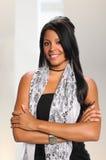 千福年非裔美国人女实业家微笑 免版税库存图片