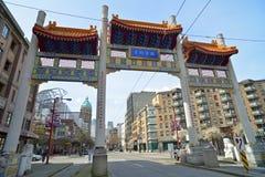 千年门在Vancouvers唐人街,加拿大 免版税库存图片