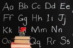 升值黑板玫瑰色教师 免版税图库摄影