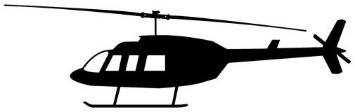 直升机剪影 免版税库存照片