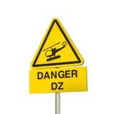 直升机危险标志 免版税库存照片