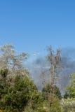 直升机投下在灌丛火的水 免版税库存照片