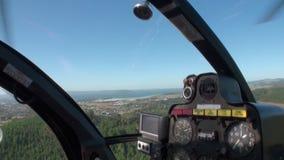 直升机的海景fromcockpit风景的森林在新西兰 股票录像
