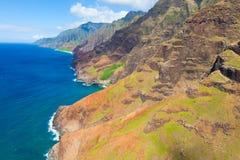 从直升机的考艾岛 库存照片