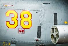 直升机的边有导弹和第的38。 免版税库存照片