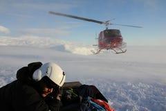 直升机着陆在南极洲 免版税库存照片