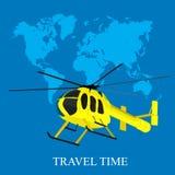 直升机,世界地图,在平的设计的传染媒介例证网站的 免版税库存图片