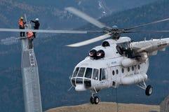 直升机Mi 8 MTV 1在特兰西瓦尼亚 免版税库存照片