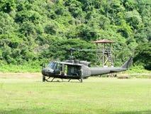 直升机UH-1 Huey起动引擎 免版税图库摄影