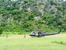 直升机UH-1 Huey起动引擎 库存图片