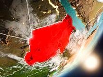 升起在从空间的苏丹上的太阳 免版税库存图片