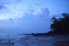 午夜蓝色风景-海,天空,树剪影-自然本底-西塔普尔海滩,尼尔海岛,安达曼尼科巴,印度 图库摄影