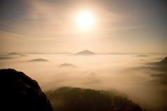 午夜 在漂泊萨克森瑞士的一座美丽的山的满月夜 多小山峰顶和树从大雾增加了 库存图片