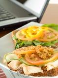 午餐办公室沙拉三明治 免版税库存照片
