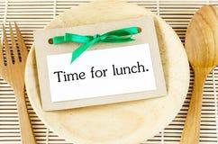 午餐卡片的时刻 库存图片