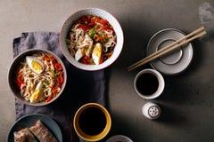 午餐用乌龙面面条烹调与菜 免版税库存图片
