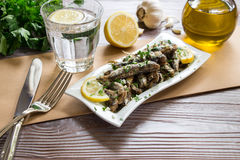 午餐的新鲜的沙丁鱼 免版税库存图片