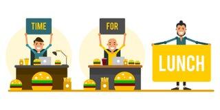 午餐的时刻 套动画片商人在f的工作场所 皇族释放例证