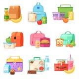 午餐盒传染媒介学校饭盒用健康食物果子或菜盒装的孩子容器在袋子例证集合 皇族释放例证