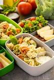 午餐盒用准备好的食物去 免版税图库摄影