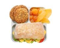 午餐盒用在白色背景的开胃食物 图库摄影