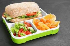 午餐盒用在黑暗的背景的开胃食物 图库摄影