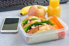 午餐盒用鸡丁沙拉三明治和红萝卜,水平 免版税库存照片