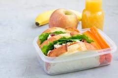 午餐盒用鸡丁沙拉三明治和红萝卜,水平 免版税库存图片