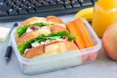 午餐盒用鸡丁沙拉三明治和红萝卜,水平 库存照片