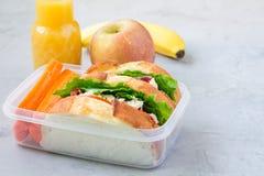 午餐盒用鸡丁沙拉三明治,供食用红萝卜,复制空间 库存照片