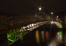 半便士铜币桥梁都伯林爱尔兰 免版税库存照片