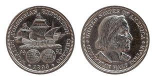 半元纪念美国在白色银币合金1893,隔绝 免版税库存图片