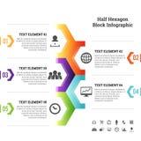 半六角形块Infographic元素 免版税库存图片