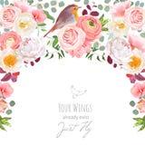 半圆与花和鸟的诗歌选框架 免版税库存图片