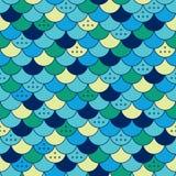 半圆无缝的样式 瓦片或鱼鳞 库存例证